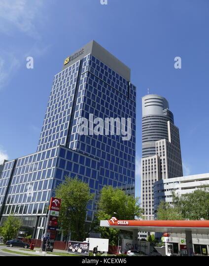 Foto der Warsaw Trade Tower (wtt) einen Wolkenkratzer in Warschau. im Jahr 1999 abgeschlossen wurde. Die modernen Stockbild