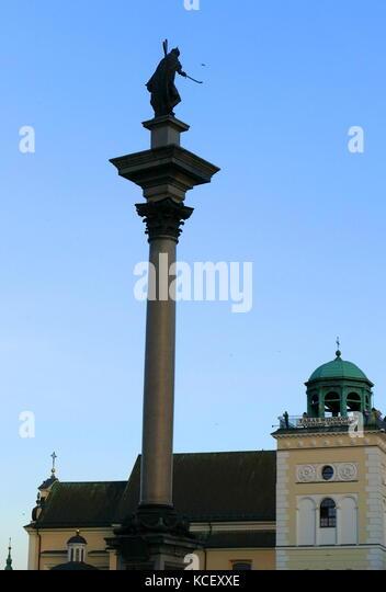 Foto von sigismund Spalte (kolumna zygmunta), ursprünglich errichtet im Jahre 1644, ist im Castle Square, Warschau, Stockbild