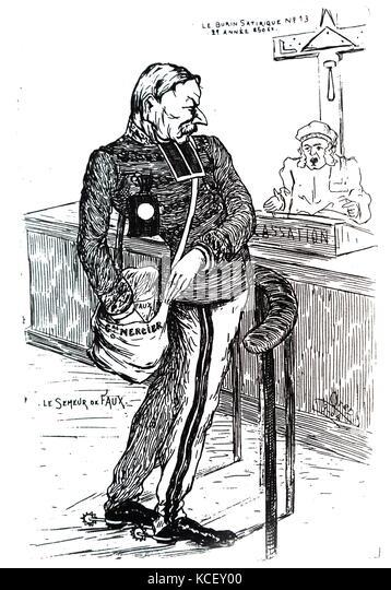 Cartoon, Auguste Mercier (1833-1921). Mercier war ein französischer General und Kriegsminister in der Zeit Stockbild