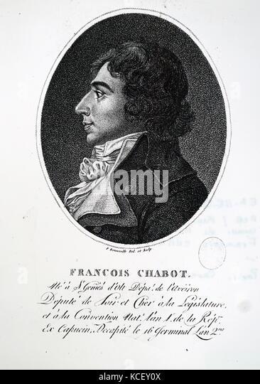 Portrait von François chabot (1756-1794), ein französischer Politiker. Vom 18. Stockbild