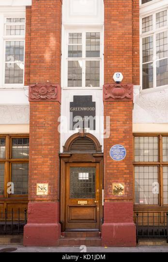 Blaue Plakette außerhalb Greenwood House, Salisbury Court, London City, Standort erste Sonntag Zeiten waren Stockbild