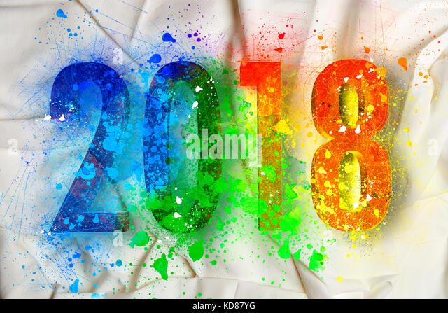 Explosion der Farben für das neue Jahr 2018 auf Bettwäsche Stockbild