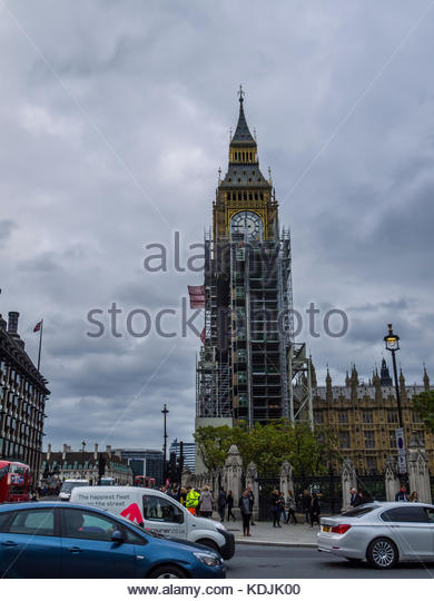 Big Ben clock unter Reparatur London England Stockbild