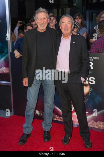 New York, NY - 28. September 2015: Roger Waters, Nick Mason an Roger Waters the wall New York Premiere auf Ziegfeld Stockbild