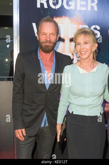 New York, NY - 28. September 2015: sting, Trudie Styler an Roger Waters the wall New York Premiere auf Ziegfeld Stockbild