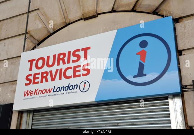 Touristische Dienstleistungen unterzeichnen, London, UK. Stockbild