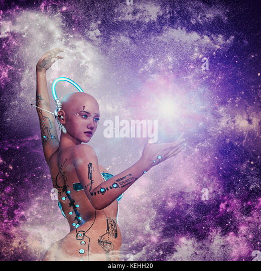 Futuristische Frau in lila Weltraum Stockbild