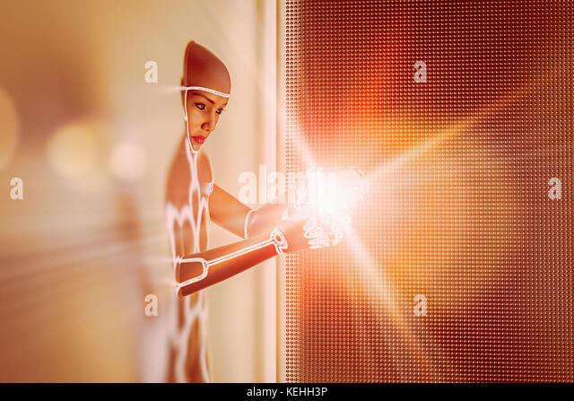 Licht leuchtet in den Händen des futuristischen Frau, die sich aus der Wand Stockbild