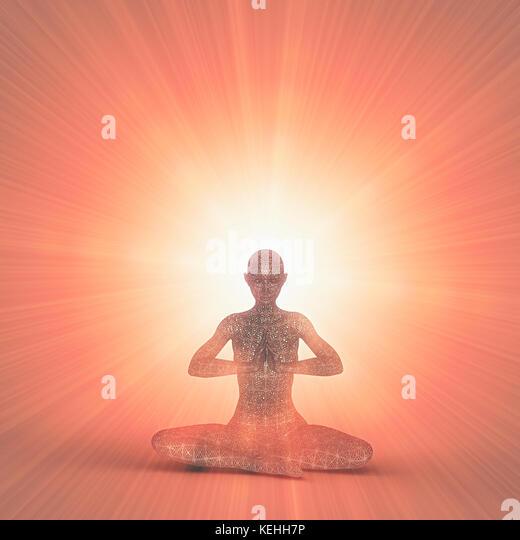 Futuristische Frau Meditation in orange Strahlen des Lichts Stockbild