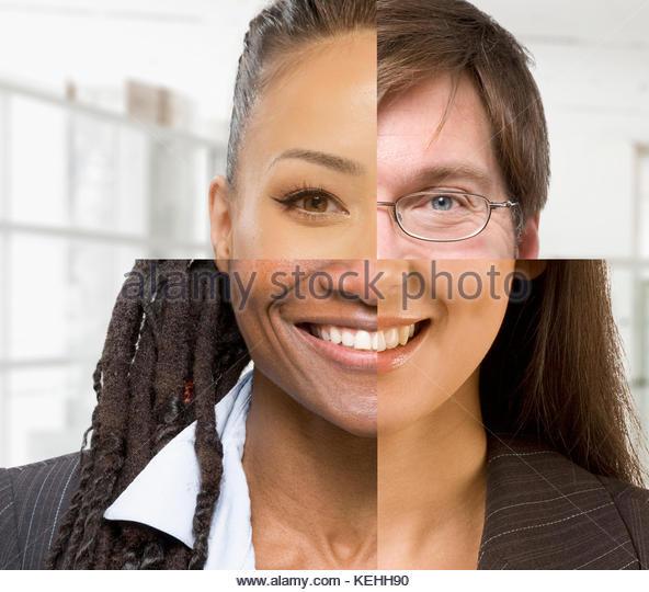 Collage aus diversen Gesicht Stockbild