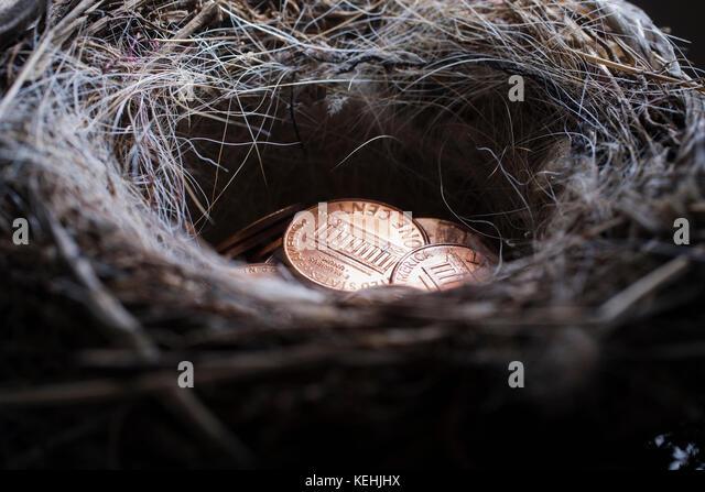 Stapel der Pennies in Nest Stockbild
