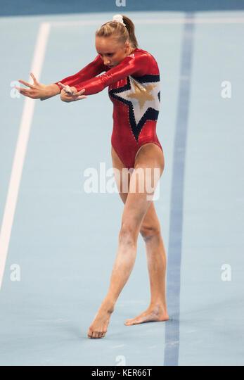 Nastia Liukin (USA) auf dem Boden Übung in der Frauen Qualifikation bei den Olympischen Sommerspiele in Peking, Stockbild