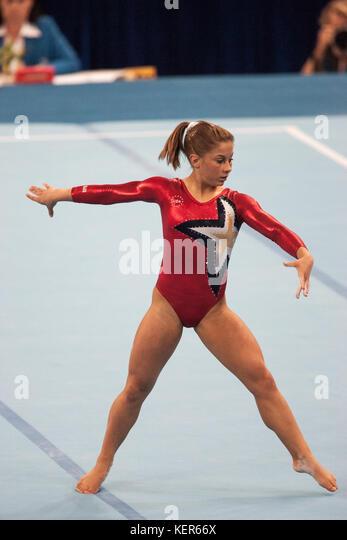 Shawn Johnson (USA) auf dem Boden Übung in der Frauen Qualifikation bei den Olympischen Sommerspiele in Peking, Stockbild