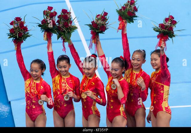 Team China Goldmedaille Champions in der Frauen künstlerische Gymnastik Team bei den Olympischen Sommerspielen Stockbild