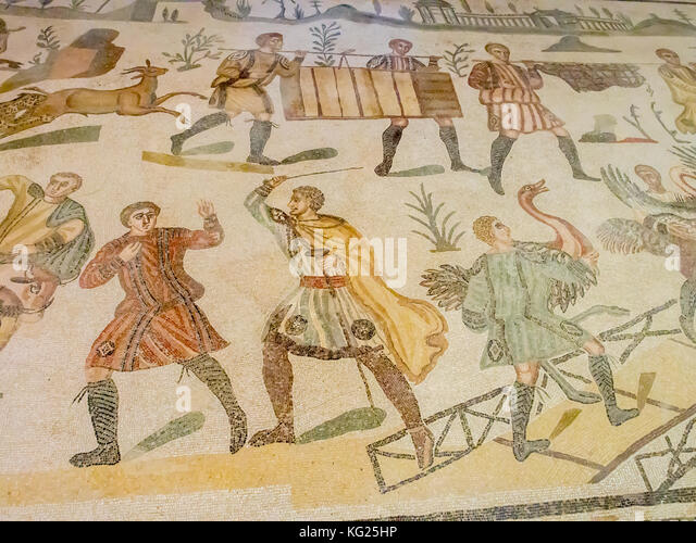 Abschnitt Bodenmosaik, Villa Romana del Casale, Piazza Armerina, UNESCO-Weltkulturerbe, Sizilien, Italien, Europa Stockbild
