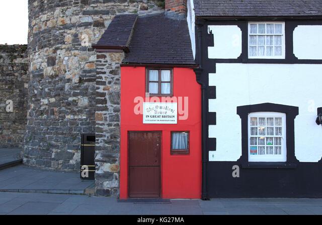 Kleinste Haus in Großbritannien, Conwy, Nord Wales Wales, Vereinigtes Königreich, Europa Stockbild