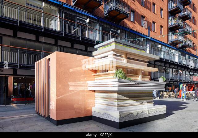 Pavillon mit street Rahmen. Der Stack - mini Living urban Kabine, London, Großbritannien Architekt: sam Jacob Stockbild
