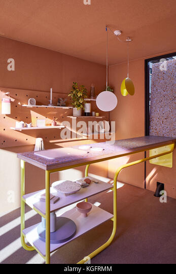 Showroom Interieur. Der Stack - mini Living urban Kabine, London, Großbritannien Architekt: sam Jacob Studio, Stockbild