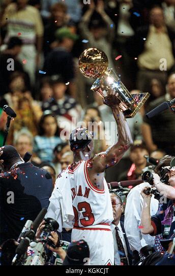 Michael Jordan für die nba Chicago Bulls in den NBA Finals 1997. Stockbild