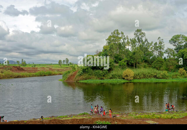 Krishna und Warana Zusammenfluss, Sangli, Maharashtra, Indien, Asien Stockbild