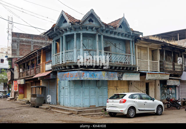 Haus Mahatma Gandhi Marg, miraj, Maharashtra, Indien, Asien Stockbild