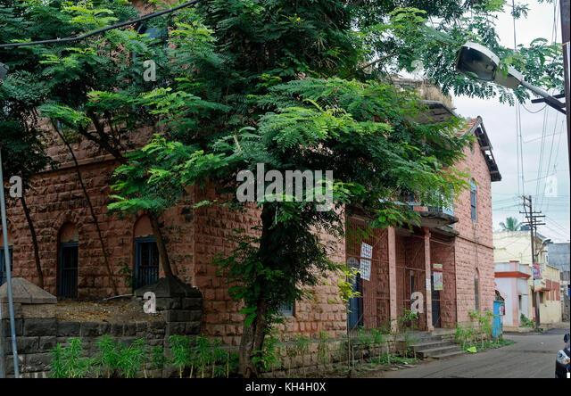 Mahanagar palika Schule Fenster miraj, Maharashtra, Indien, Asien Stockbild