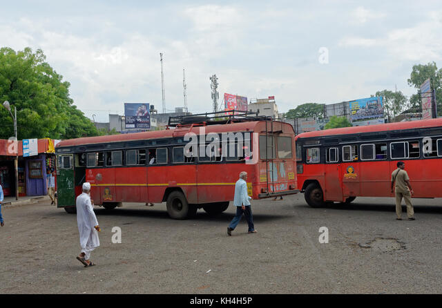 Jaysingpur Bus stehen, Kolhapur, Maharashtra, Indien, Asien Stockbild