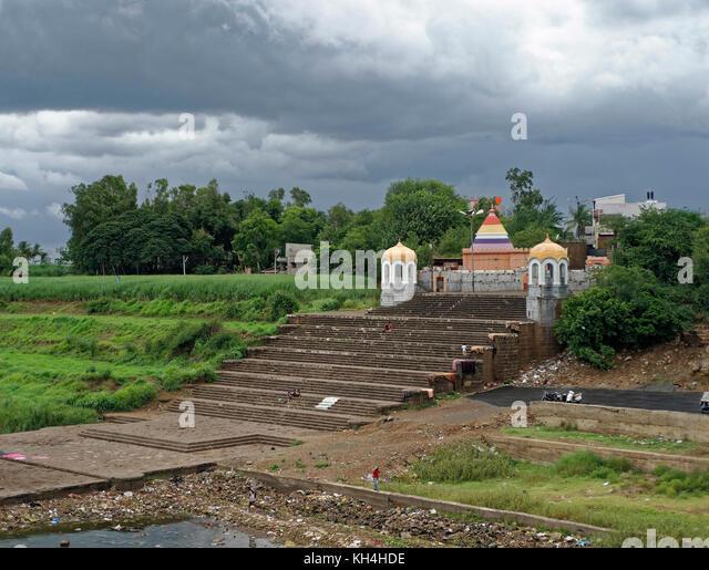 Ghat auf Krishna Fluss, miraj, Maharashtra, Indien, Asien Stockbild