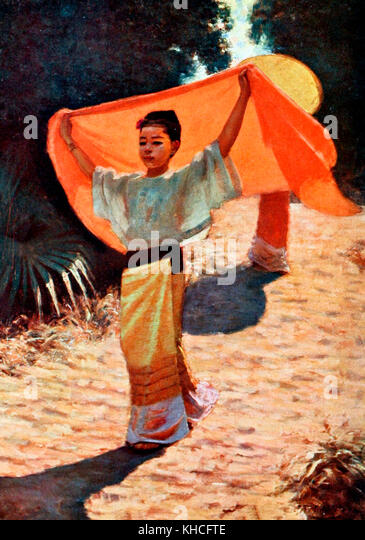 Eine extemporised Sonnenschirm - Birma, ca. 1900 Stockbild