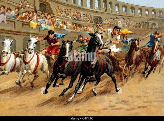 Chariot Rennen im antiken Rom an einer Zigarette Card über 1910 Stockbild