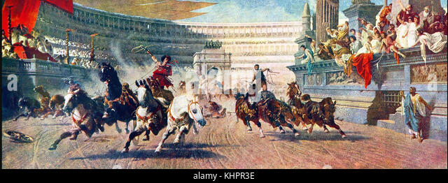 Chariot Rennen im antiken Rom. Ein Gemälde aus dem 19. Jahrhundert. Stockbild