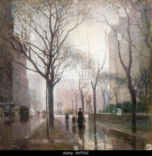 Die Plaza Nach dem Regen von Paul Cornoyer (1864-1923), Öl auf Leinwand, 1908 Stockbild