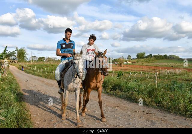 Die ländliche Bevölkerung in Vinales Landschaft, Kuba Stockbild