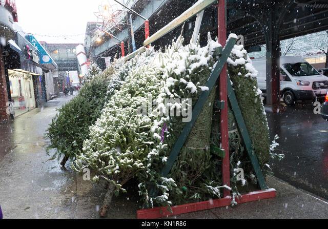 New York, NY - Dezember 9, 2017: Erster Schnee im Winter 2017 in New York umfasst Weihnachtsbäume markt Credit: Stockbild