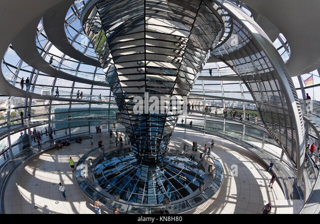 Reichtstag dome Interieur, Architekt Sir Norman Forster, Berlin Stockbild