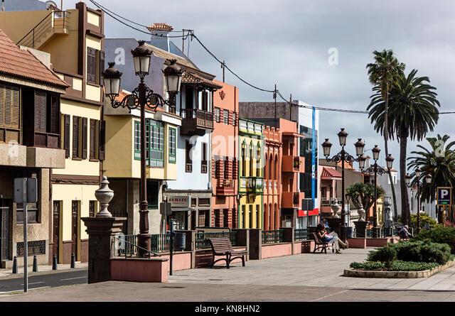 Häuser in Obispo Rey Redondo Street und Concepcion Square, koloniale Stadt, La Laguna, San Cristobal de La Stockbild