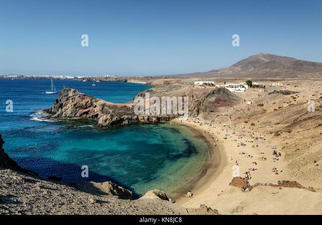 Playas de Papagayo, Atlantik Lanzarote, Kanarische Inseln, Spanien Stockbild