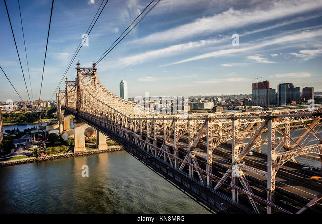 Die Queensboro Bridge, und Roosevelt Island, Manhattan, NYC, USA Stockbild