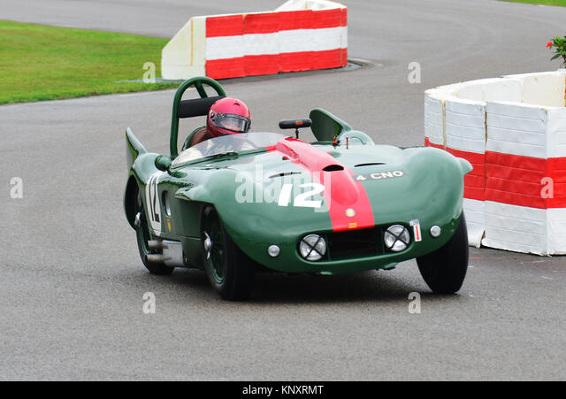 Goodwood Revival 2013, Tony Holz - Lister Bristol., madgwick Cup. Stockbild