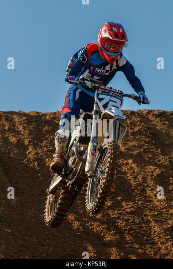 Joe Cadwallader auf dem Fox RMJ Husqvarna MXY2 an den Maxxis British Motocross Championship, Lyng, Cadders Hill, Stockbild