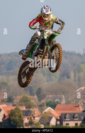 Keenan Hird auf der Craigs Team Grün Kawasaki MXY2 an den Maxxis British Motocross Championship, Lyng, Cadders Stockbild