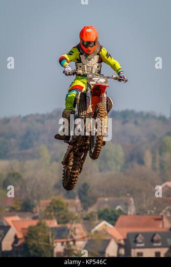Ryan Allison auf der MXY2 KTM an den Maxxis British Motocross Championship, Lyng, Cadders Hill, Norfolk, Großbritannien. Stockbild