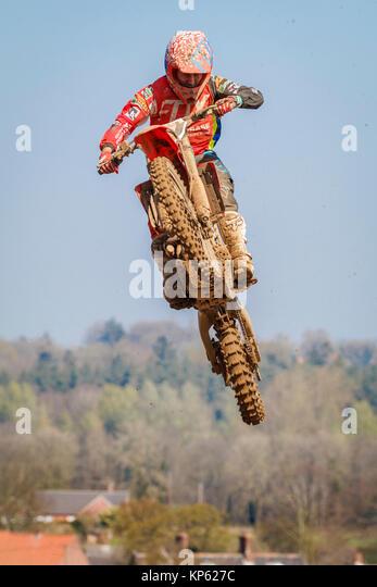 Loukas Maggio auf der MX2 Honda in der Maxxis British Motocross Championship, Lyng, Cadders Hill, Norfolk, Großbritannien. Stockbild