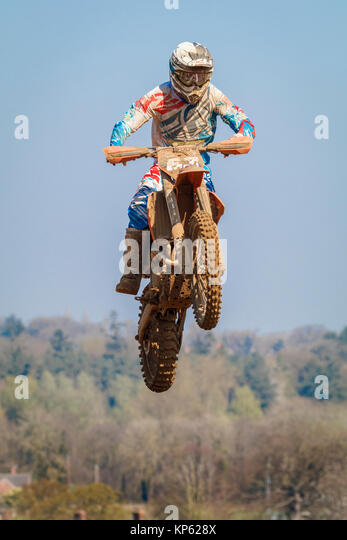 Jordan Alleuml. Auf der EVO-Tech KTM MX2 an den Maxxis British Motocross Championship, Lyng, Cadders Hill, Norfolk, Stockbild