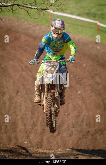 Kristian Whatley auf der Apico Husqvarna MX1 an den Maxxis British Motocross Championship, Lyng, Cadders Hill, Norfolk, Stockbild