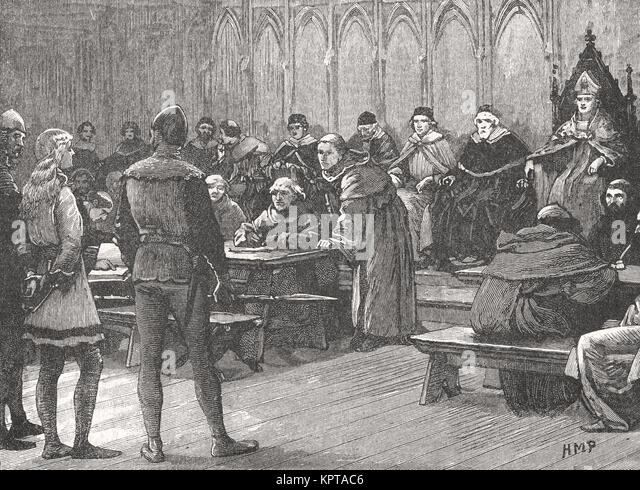Prozess der Jeanne d'Arc für Ketzerei, 1431 Stockbild