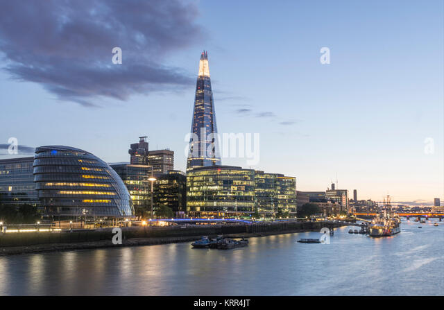 Skyline von London, The Shard, City of London, Stockbild