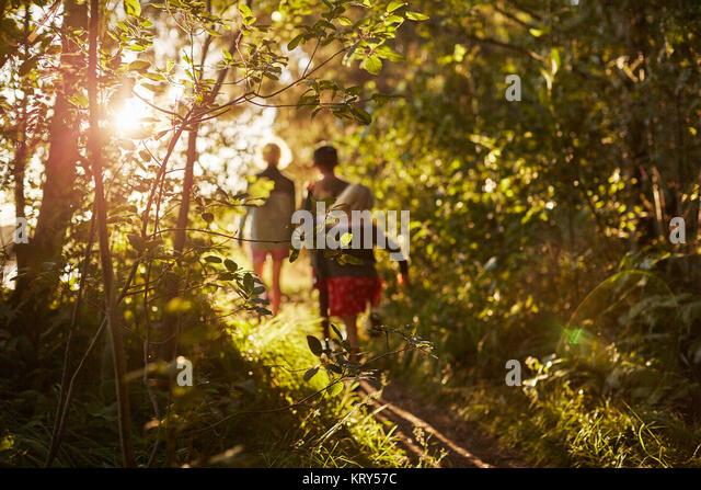 Kinder zu Fuß durch Bäume Stockbild