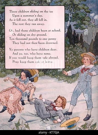 Drei Kinder gleiten auf dem Eis - Mother Goose Kinderlieder Stockbild