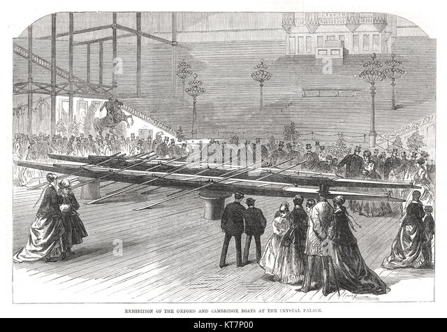 Oxford & Cambridge Boote Boat Race Ausstellung, Crystal Palace, 1869 Stockbild